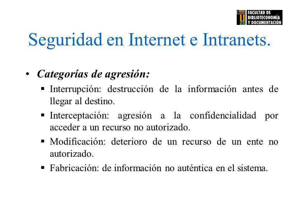 Seguridad en Internet e Intranets. Categorías de agresión: Interrupción: destrucción de la información antes de llegar al destino. Interceptación: agr