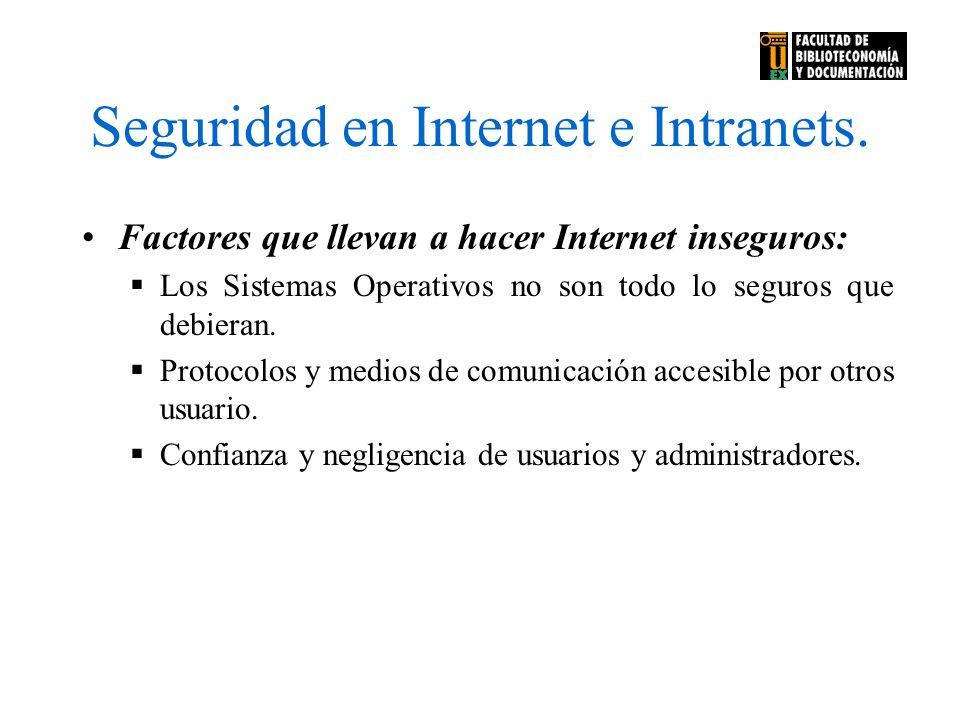 Seguridad en Internet e Intranets. Factores que llevan a hacer Internet inseguros: Los Sistemas Operativos no son todo lo seguros que debieran. Protoc