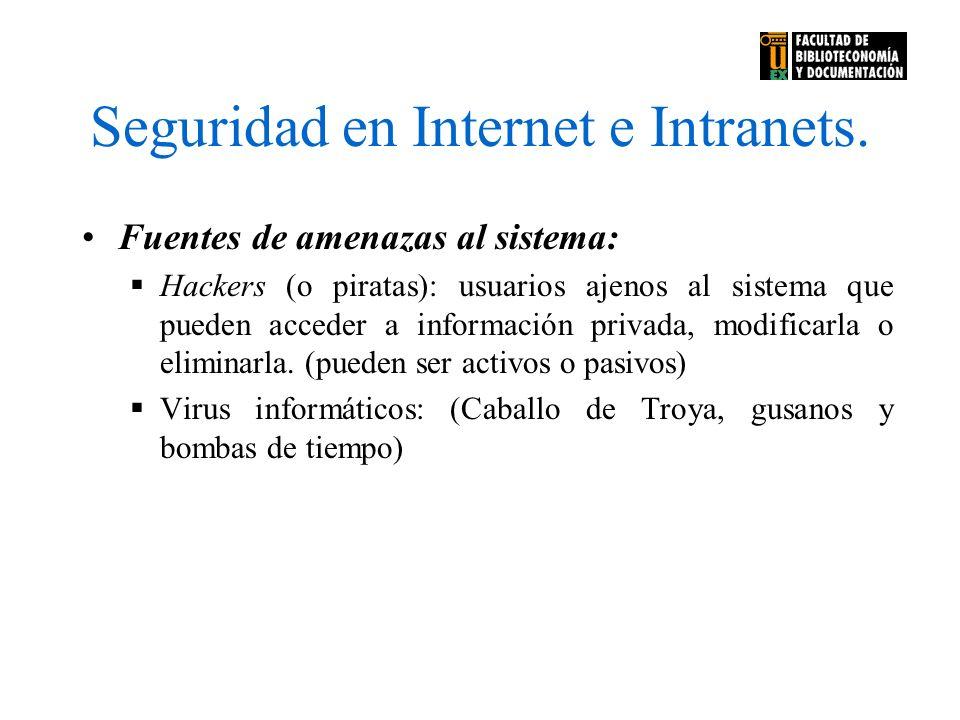 Seguridad en Internet e Intranets. Fuentes de amenazas al sistema: Hackers (o piratas): usuarios ajenos al sistema que pueden acceder a información pr