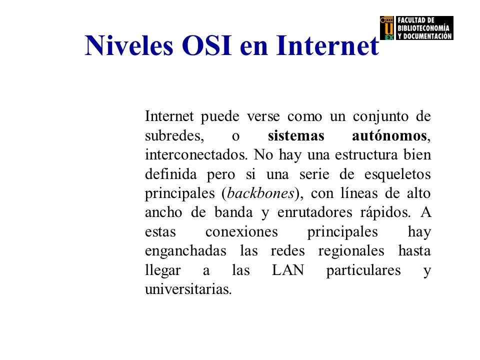 Internet puede verse como un conjunto de subredes, o sistemas autónomos, interconectados. No hay una estructura bien definida pero si una serie de esq