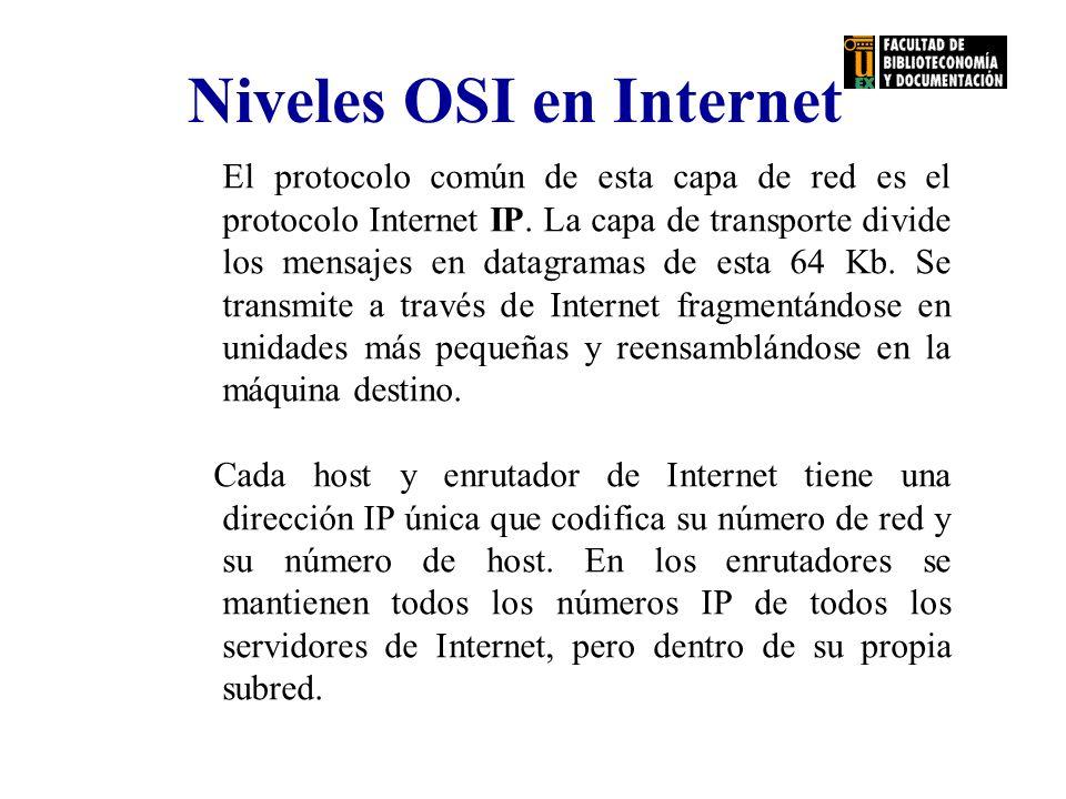 Niveles OSI en Internet El protocolo común de esta capa de red es el protocolo Internet IP. La capa de transporte divide los mensajes en datagramas de