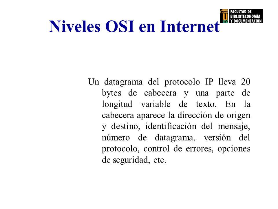 Niveles OSI en Internet Un datagrama del protocolo IP lleva 20 bytes de cabecera y una parte de longitud variable de texto. En la cabecera aparece la
