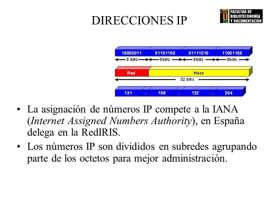 DIRECCIONES IP La asignación de números IP compete a la IANA (Internet Assigned Numbers Authority), en España delega en la RedIRIS. Los números IP son
