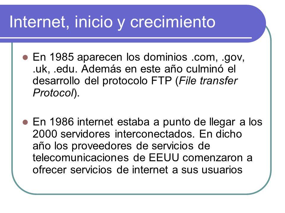 Internet, inicio y crecimiento En 1985 aparecen los dominios.com,.gov,.uk,.edu. Además en este año culminó el desarrollo del protocolo FTP (File trans