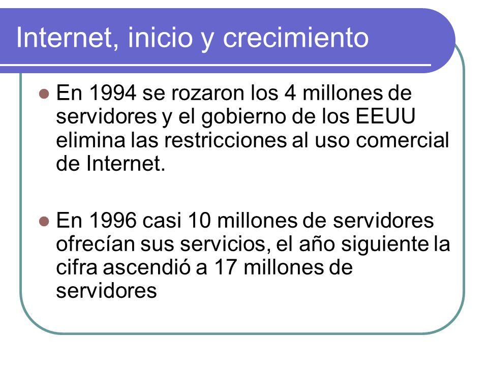 Internet, inicio y crecimiento En 1994 se rozaron los 4 millones de servidores y el gobierno de los EEUU elimina las restricciones al uso comercial de