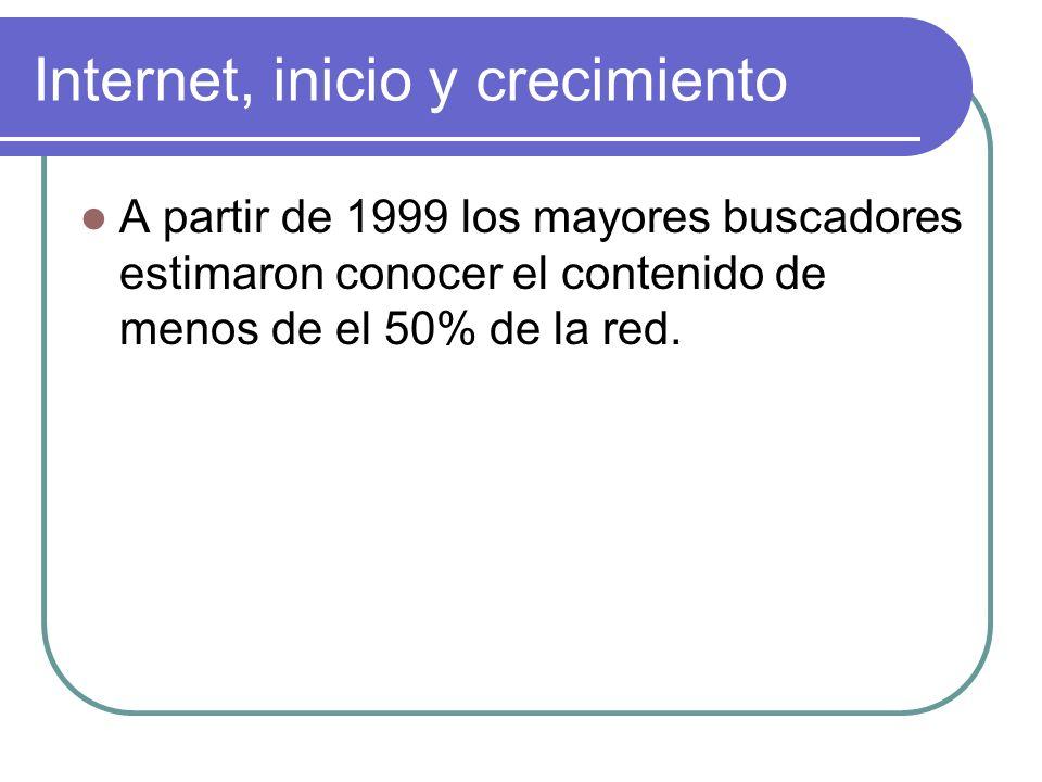 Internet, inicio y crecimiento A partir de 1999 los mayores buscadores estimaron conocer el contenido de menos de el 50% de la red.