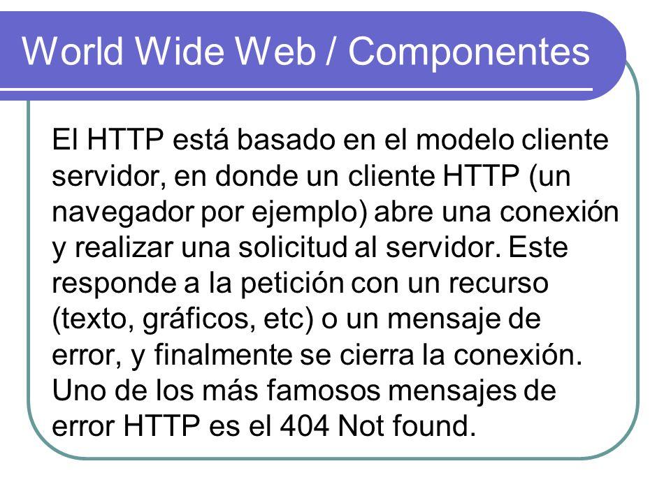 World Wide Web / Componentes El HTTP está basado en el modelo cliente servidor, en donde un cliente HTTP (un navegador por ejemplo) abre una conexión
