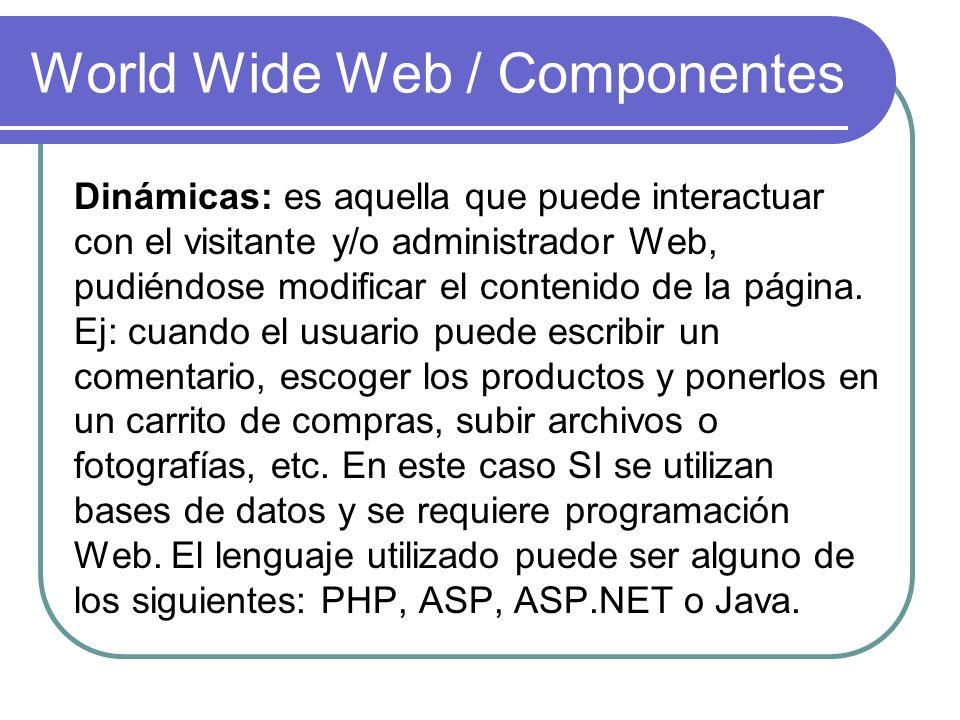 World Wide Web / Componentes Dinámicas: es aquella que puede interactuar con el visitante y/o administrador Web, pudiéndose modificar el contenido de