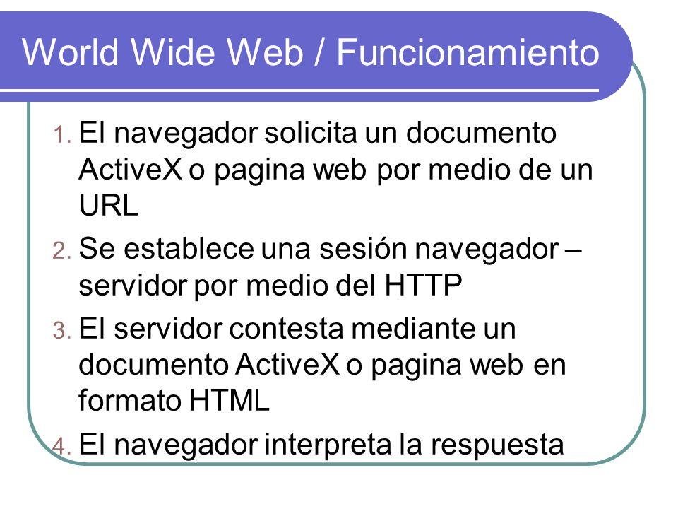 World Wide Web / Funcionamiento 1. El navegador solicita un documento ActiveX o pagina web por medio de un URL 2. Se establece una sesión navegador –