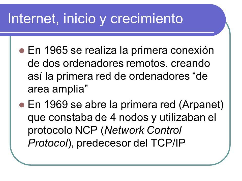 Internet, inicio y crecimiento En 1965 se realiza la primera conexión de dos ordenadores remotos, creando así la primera red de ordenadores de area am