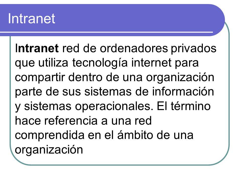 Intranet Intranet red de ordenadores privados que utiliza tecnología internet para compartir dentro de una organización parte de sus sistemas de infor