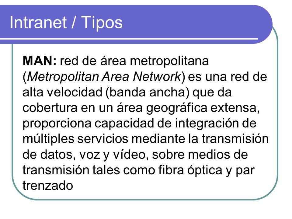 Intranet / Tipos MAN: red de área metropolitana (Metropolitan Area Network) es una red de alta velocidad (banda ancha) que da cobertura en un área geo