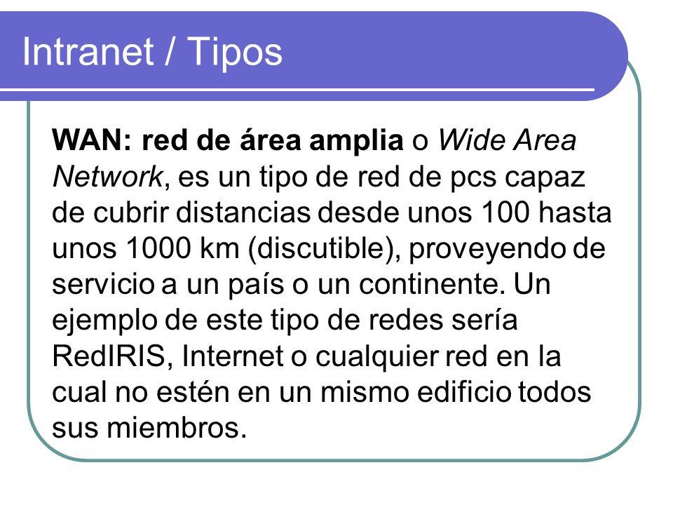 Intranet / Tipos WAN: red de área amplia o Wide Area Network, es un tipo de red de pcs capaz de cubrir distancias desde unos 100 hasta unos 1000 km (d
