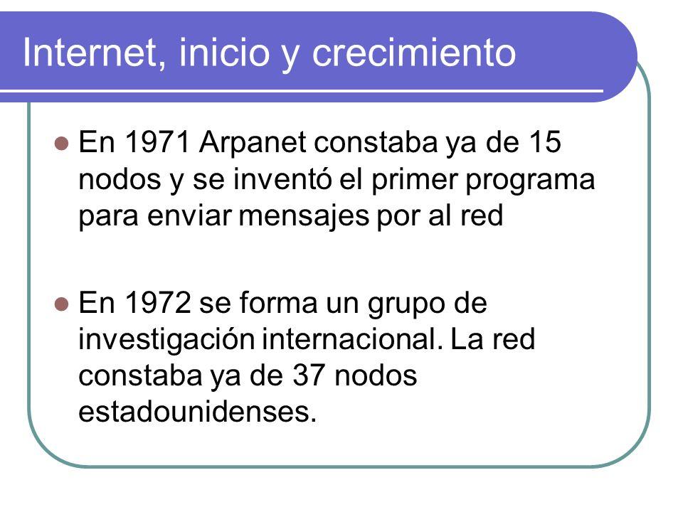 Internet, inicio y crecimiento En 1971 Arpanet constaba ya de 15 nodos y se inventó el primer programa para enviar mensajes por al red En 1972 se form