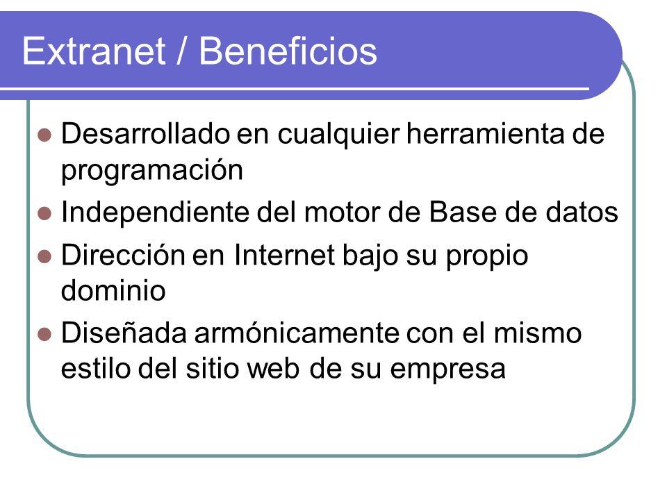 Desarrollado en cualquier herramienta de programación Independiente del motor de Base de datos Dirección en Internet bajo su propio dominio Diseñada a