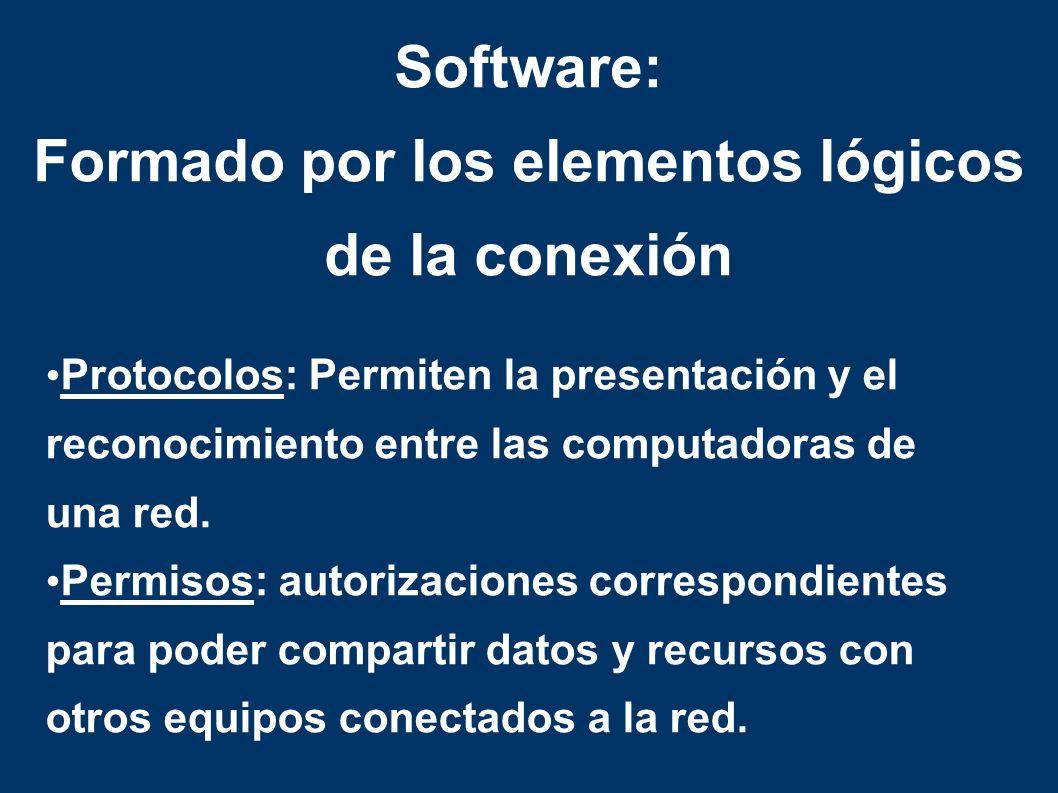 Protocolos: Permiten la presentación y el reconocimiento entre las computadoras de una red.