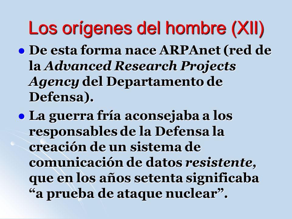 Los orígenes del hombre (XII) De esta forma nace ARPAnet (red de la Advanced Research Projects Agency del Departamento de Defensa).