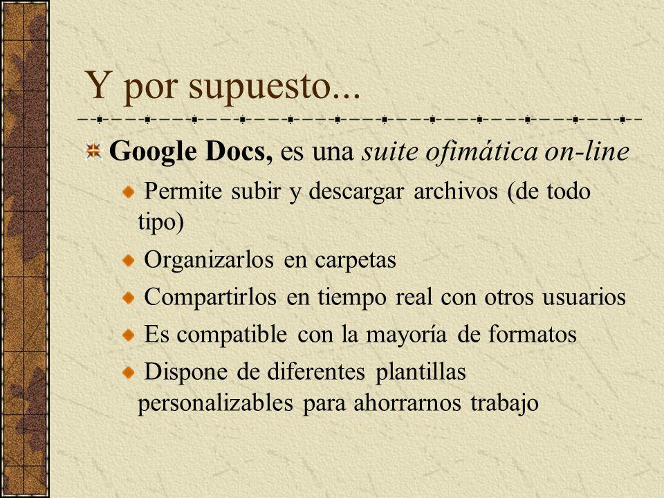 Y por supuesto... Google Docs, es una suite ofimática on-line Permite subir y descargar archivos (de todo tipo) Organizarlos en carpetas Compartirlos