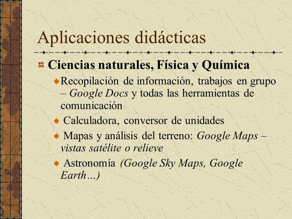 Aplicaciones didácticas Ciencias naturales, Física y Química Recopilación de información, trabajos en grupo – Google Docs y todas las herramientas de