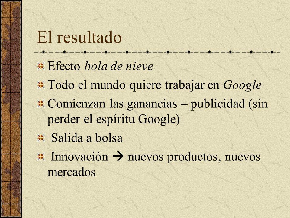 El resultado Efecto bola de nieve Todo el mundo quiere trabajar en Google Comienzan las ganancias – publicidad (sin perder el espíritu Google) Salida