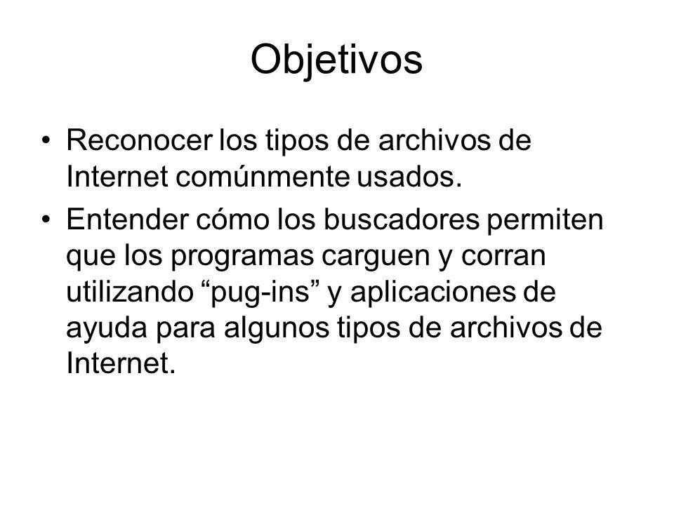 Objetivos Reconocer los tipos de archivos de Internet comúnmente usados. Entender cómo los buscadores permiten que los programas carguen y corran util