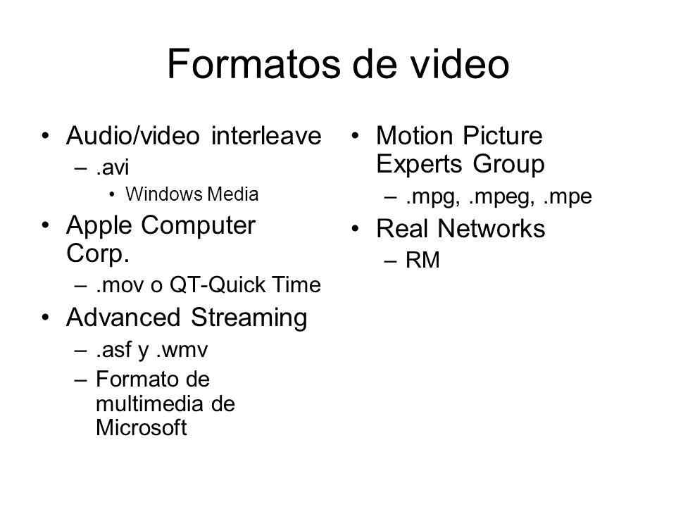 Formatos de video Audio/video interleave –.avi Windows Media Apple Computer Corp. –.mov o QT-Quick Time Advanced Streaming –.asf y.wmv –Formato de mul