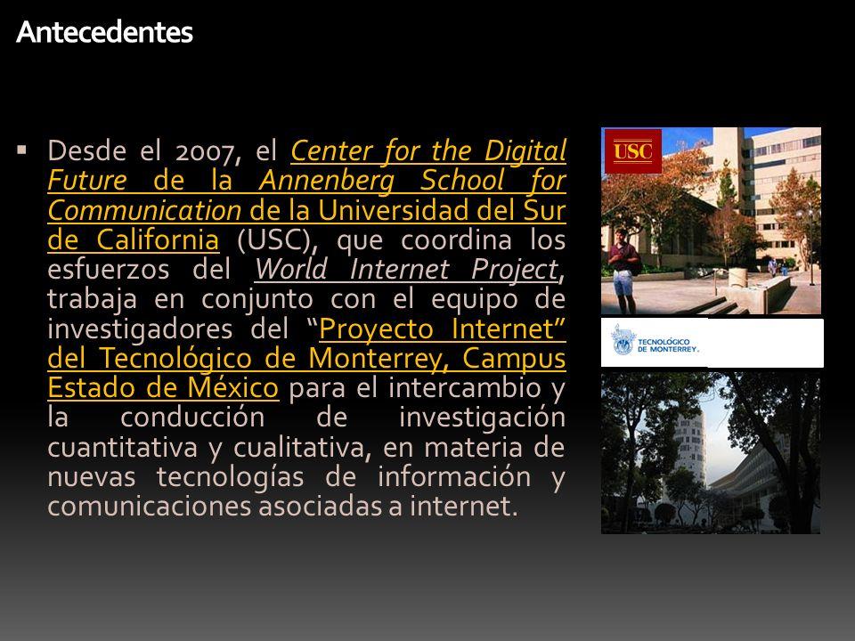 Antecedentes Desde el 2007, el Center for the Digital Future de la Annenberg School for Communication de la Universidad del Sur de California (USC), q