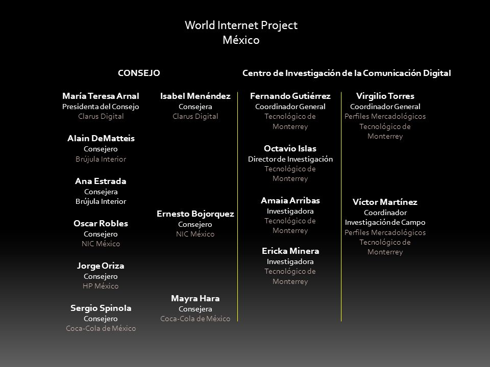 World Internet Project México María Teresa Arnal Presidenta del Consejo Clarus Digital Alain DeMatteis Consejero Brújula Interior Ana Estrada Consejer