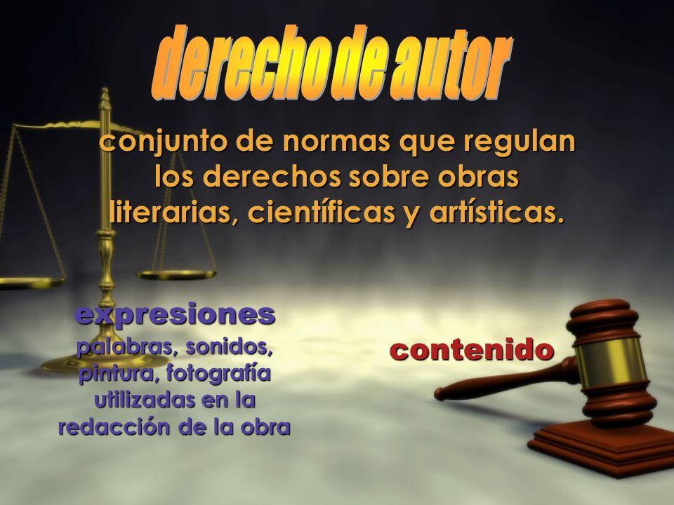 conjunto de normas que regulan los derechos sobre obras literarias, científicas y artísticas. expresiones palabras, sonidos, pintura, fotografía utili