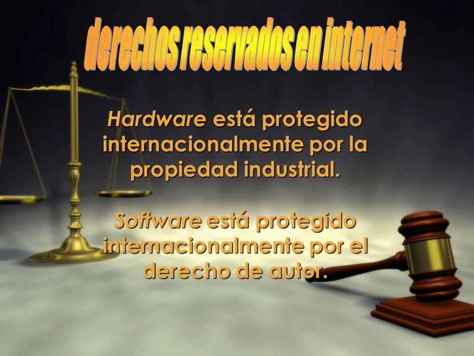Hardware está protegido internacionalmente por la propiedad industrial. Software está protegido internacionalmente por el derecho de autor.