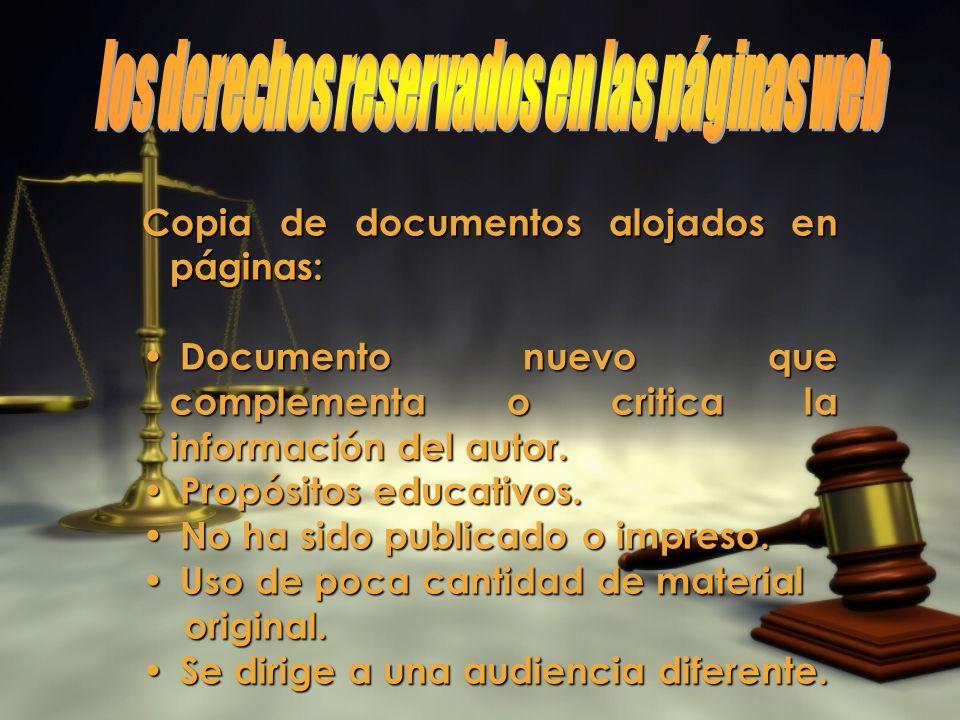 Copia de documentos alojados en páginas: Documento nuevo que complementa o critica la información del autor.