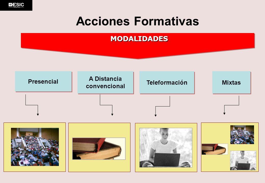 Presencial A Distancia convencional A Distancia convencional Mixtas Teleformación MODALIDADES Acciones Formativas