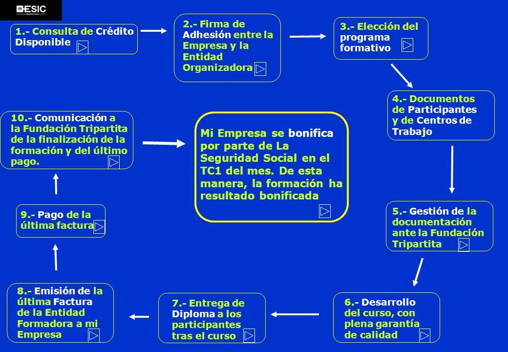 1.- Consulta de Crédito Disponible 2.- Firma de Adhesión entre la Empresa y la Entidad Organizadora 3.- Elección del programa formativo 4.- Documentos