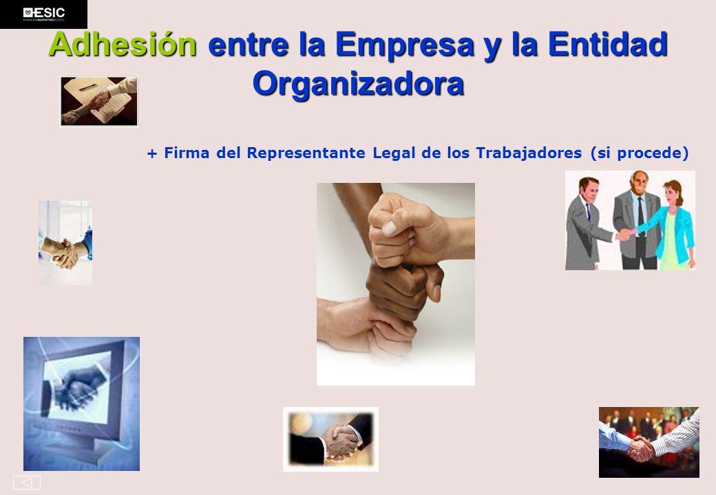 Adhesión entre la Empresa y la Entidad Organizadora + Firma del Representante Legal de los Trabajadores (si procede)