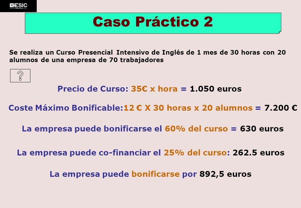 Precio de Curso: 35 x hora = 1.050 euros Caso Práctico 2 Coste Máximo Bonificable:12 X 30 horas x 20 alumnos = 7.200 La empresa puede bonificarse el 6