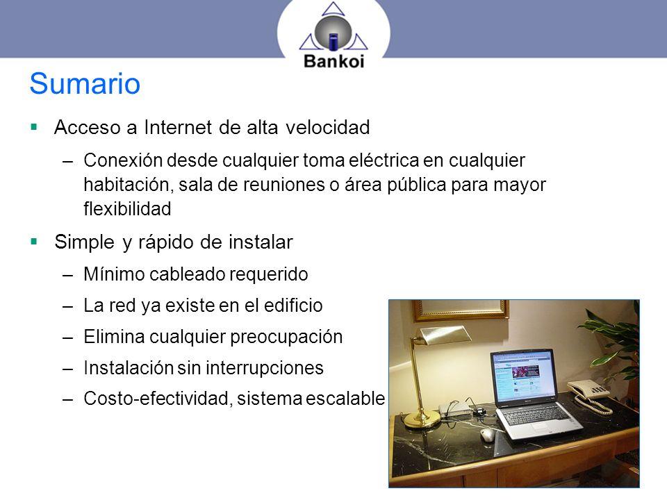 Sumario Acceso a Internet de alta velocidad –Conexión desde cualquier toma eléctrica en cualquier habitación, sala de reuniones o área pública para ma