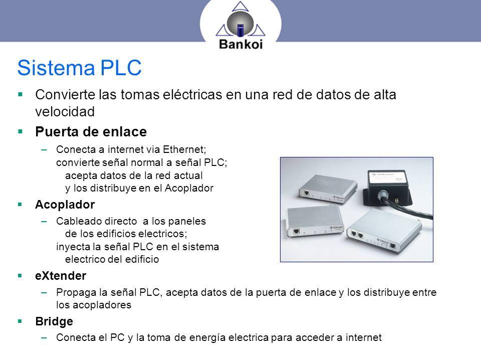 Sistema PLC Convierte las tomas eléctricas en una red de datos de alta velocidad Puerta de enlace –Conecta a internet via Ethernet; convierte señal no