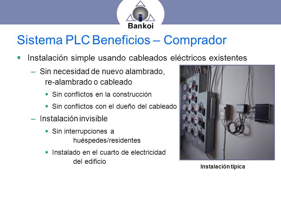 Sistema PLC Beneficios – Comprador Instalación simple usando cableados eléctricos existentes –Sin necesidad de nuevo alambrado, re-alambrado o cablead