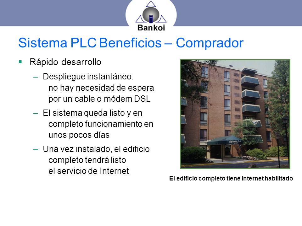 Sistema PLC Beneficios – Comprador Rápido desarrollo –Despliegue instantáneo: no hay necesidad de espera por un cable o módem DSL –El sistema queda li