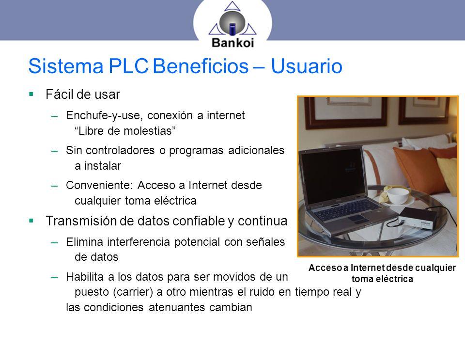 Sistema PLC Beneficios – Usuario Fácil de usar –Enchufe-y-use, conexión a internet Libre de molestias –Sin controladores o programas adicionales a ins