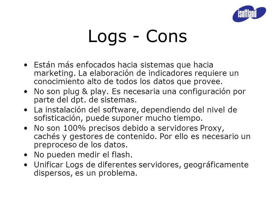 Logs - Cons Están más enfocados hacia sistemas que hacia marketing. La elaboración de indicadores requiere un conocimiento alto de todos los datos que