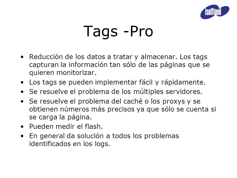 Tags -Pro Reducción de los datos a tratar y almacenar. Los tags capturan la información tan sólo de las páginas que se quieren monitorizar. Los tags s
