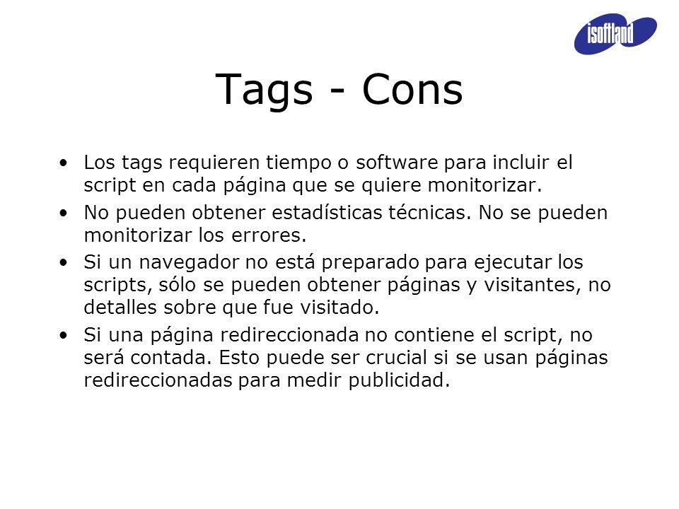Tags - Cons Los tags requieren tiempo o software para incluir el script en cada página que se quiere monitorizar. No pueden obtener estadísticas técni
