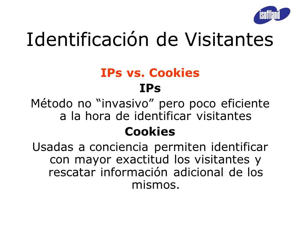 Identificación de Visitantes IPs vs. Cookies IPs Método no invasivo pero poco eficiente a la hora de identificar visitantes Cookies Usadas a concienci