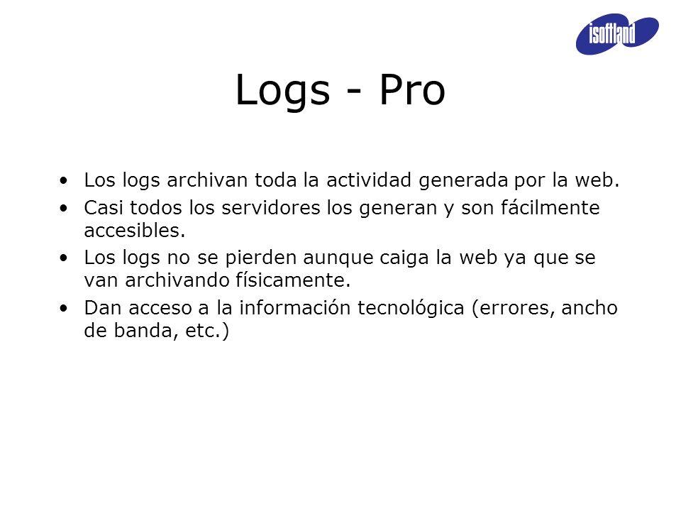 Logs - Pro Los logs archivan toda la actividad generada por la web. Casi todos los servidores los generan y son fácilmente accesibles. Los logs no se