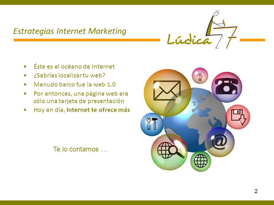 3 Estrategias Internet Marketing Bienvenido a la Web 2 Todo el mundo al agua Llegan las redes sociales Donde los internautas, buscan y comparten información, opinan sobre ti Y el comercio electrónico.