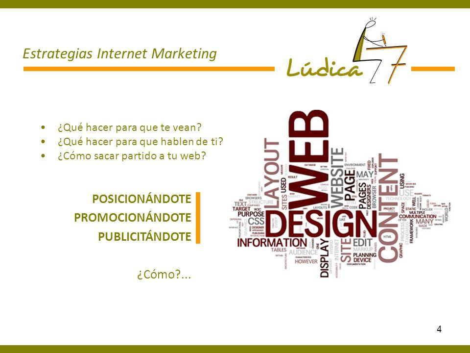 15 Estrategias Internet Marketing Tu página web Blog Youtube Facebook Twitter Flicrk Queremos que tu web llegue a todo el mundo Tienda Online Campañas publicitarias Newsletter