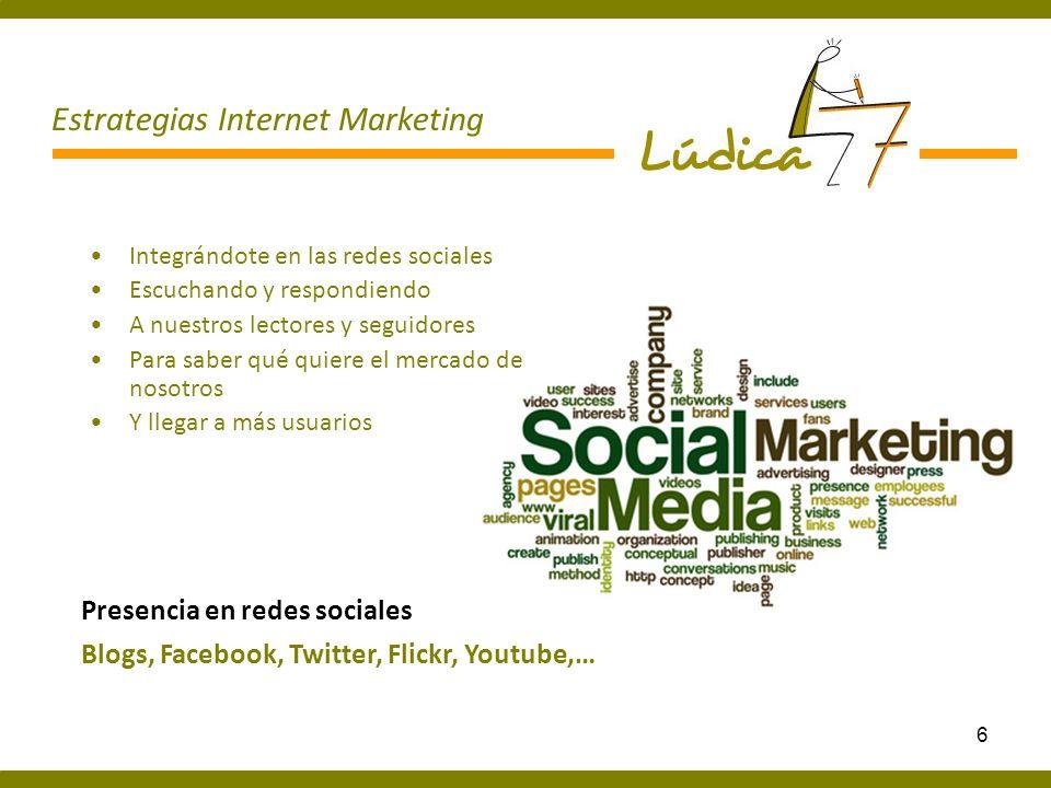 7 Generando contenidos de interés Actualizando la página web para mantenerla viva Captando nuevas visitas Contenidos Multimedia Newsletter, Vídeos, Fotos, Banners, Campañas de email marketing … Estrategias Internet Marketing