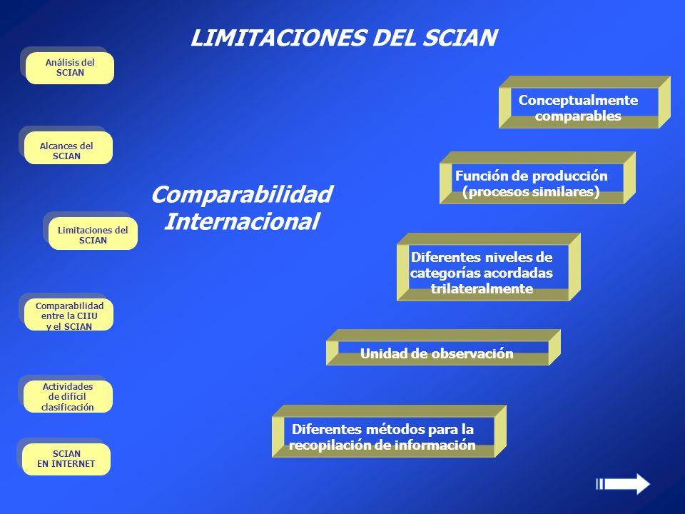 LIMITACIONES DEL SCIAN Función de producción (procesos similares) Unidad de observación Diferentes niveles de categorías acordadas trilateralmente Con