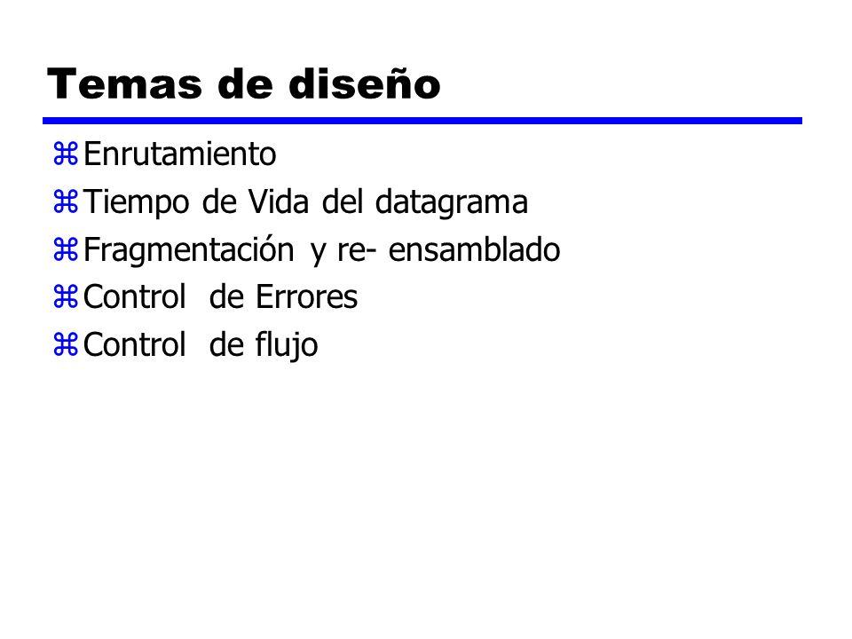 Temas de diseño zEnrutamiento zTiempo de Vida del datagrama zFragmentación y re- ensamblado zControl de Errores zControl de flujo